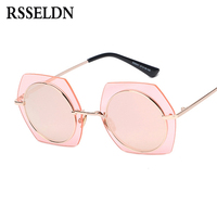 RSSELDN Fashion Hexagon Sunglasses Women Round Lens Silver Pink Mirror Big Vintage Shades Sun Glasses Female