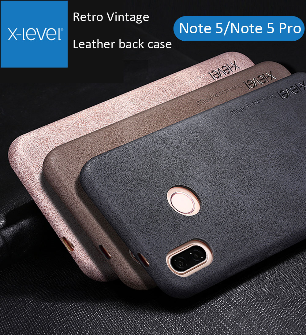 X-Level Cover Case For Xiaomi Redmi Note 5 Pro Note5 Retro Vintage X Level Matte Frosted Leather Back Protective Shell