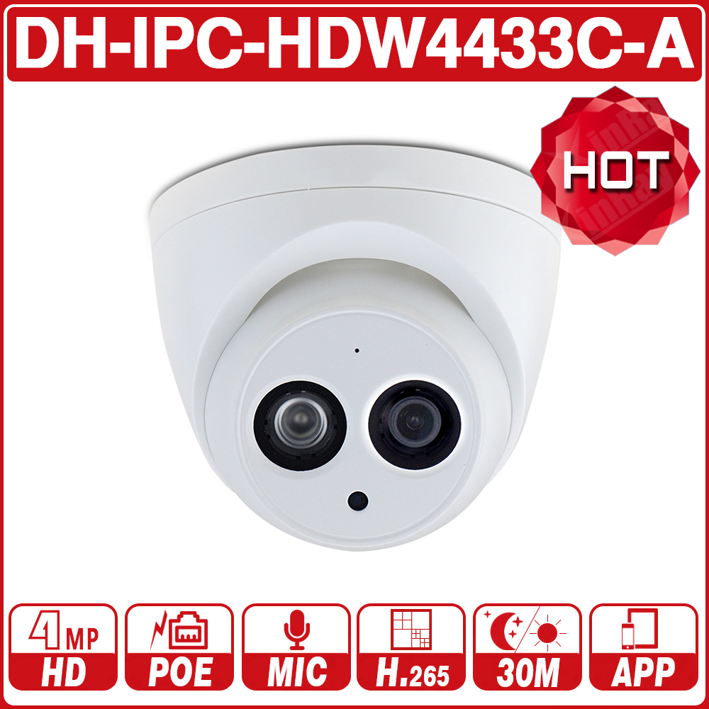 DH IPC-HDW4433C-A With Logo 4MP HD POE Network IR Mini Dome IP Camera Starlight Built-in MiC CCTV Camera Replace IPC-HDW4431C-A(China)