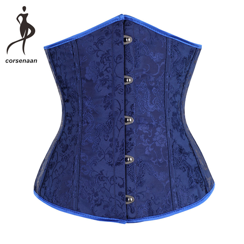 Dark Blue Women's Floral Embroidered Waist Cincher Shaper Lace Up   Bustier   Top Underbust   Corset   Size S-2XL 28334#
