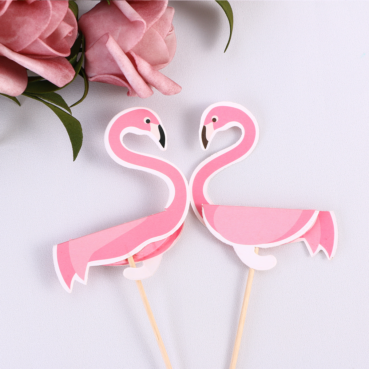 2 Pcs 3D Flamingo Cake Toppers Cupcake Picks for Wedding Baby Shower ...