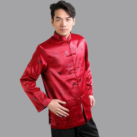 Red Traditional Chinese Men S Silk Satin Kung Fu Jacket Spring Long Sleeves Coat Size S