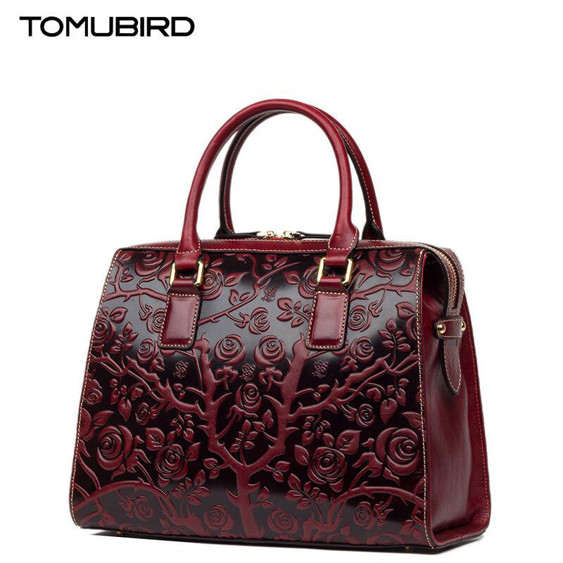 TOMUBIRD new Superior cowhide leather Embossing famous brand font b women b font font b bag