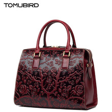 TOMUBIRD new Superior cowhide leather Embossing famous brand women bag fashion genuine leather handbags Tote bag
