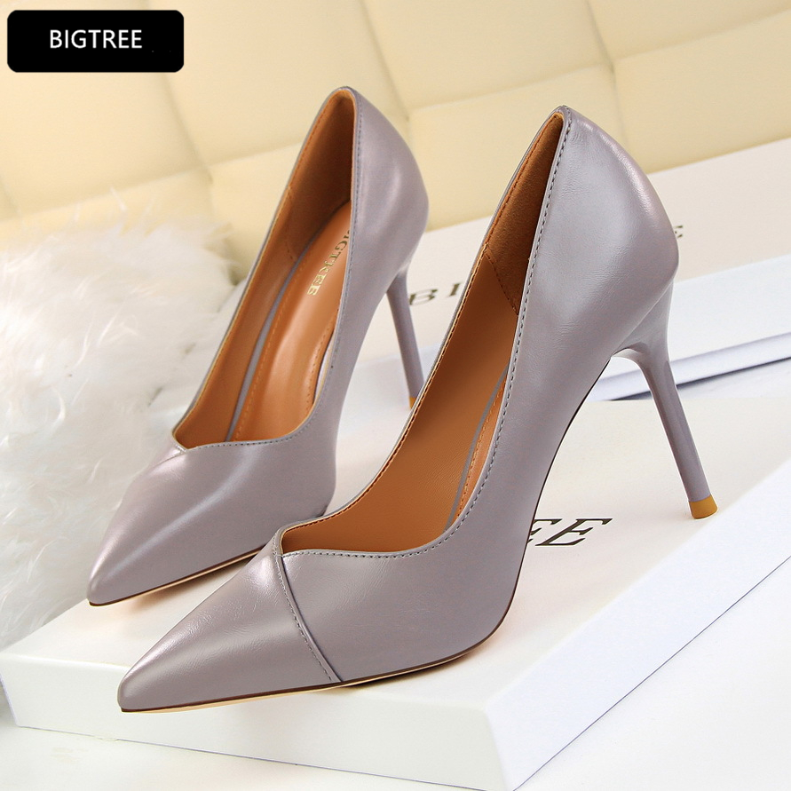 New Fashion 2018 Spring Shallow Pointed Toe PU Leather Shoes For Ladies OL High Heels Shoes Women Pumps Platform Beige Red [328] women autumn fashion shoes pu skin shallow low heeled shoes with high heel pointed shoes for ol lss 888