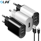OLAF Dual USB Charger 2 in1 5V 2A AC EU wall power adapter charging charger + micro USB cable for sumsung for huawei Xiaomi