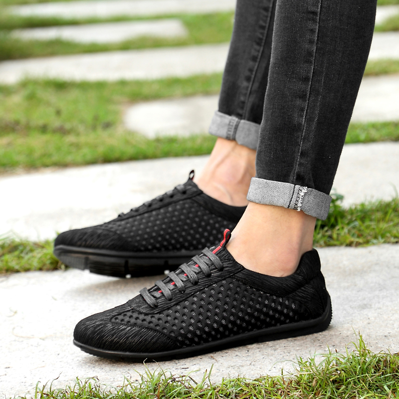Fashion men 39 s casual shoes platform 2018 summer breathable mesh shoes for men loafers black yellow new trend big size shoe man in Men 39 s Casual Shoes from Shoes