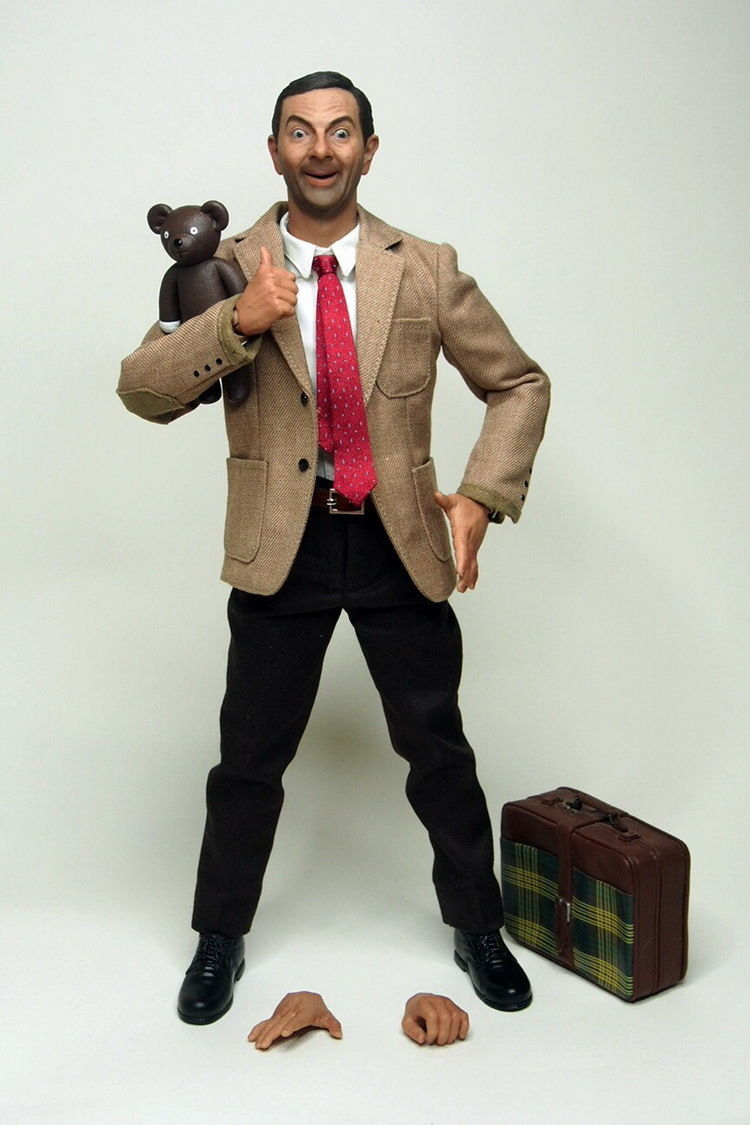 Hot 1/6 Scale Mr Bean Clothing + Head Sculpt Set For 12