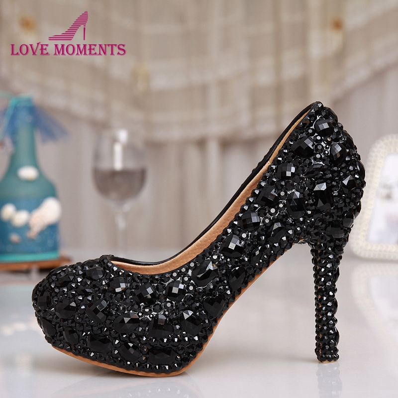 Black Rhinestone Crystal Bridal Shoes Women Evening Party