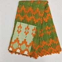 Jc292 lemon yeşil + orange (5 yards/pc) yeni varış altın konuları ile Afrika ağır dantel kumaş kord yapma için parti elbise