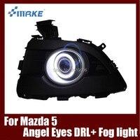 Туман сборки лампы светодиодный дневной свет удара Ангельские глазки Foglight Daytime Бег свет линзы бампер полный набор для Mazda 5 2008 2010