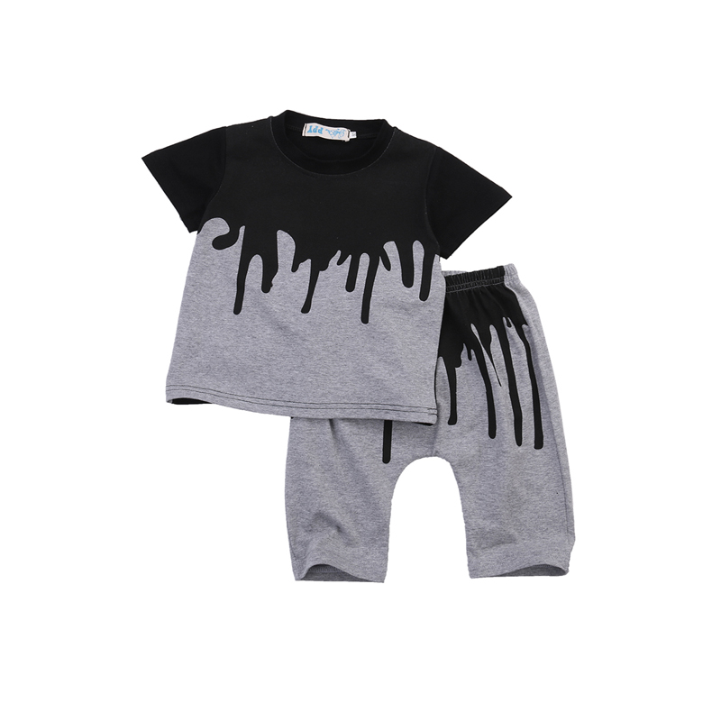 0-4Y Fashion Casual Newborn Infant Baby Boys Cotton Short Sleeve O-Neck Pullover Color Print Shirt Tops Pants 2PCS Outfit Summer infant toddler kids baby girls summer outfit cotton striped sleeveless tops dress floral short pants girls clothes sunsuit 0 4y