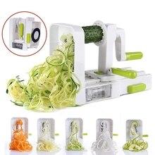 4 лезвия овощей Spiralizer складной Veggie паста и спагетти картофель Овощной спиральный резак кабачки слайсер