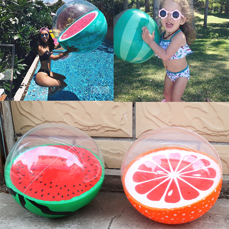 28cm 3D Inflatable Watermelon Orange Shape Water Balloons Beach Ball Summer Swimming Pool Game Sport Float Toys For Adult Kids