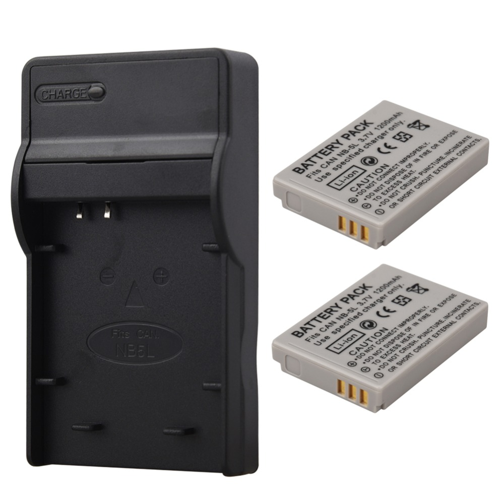 2pc 1200mAh NB-5L NB5L <font><b>Battery</b></font> + Charger For <font><b>Canon</b></font> SX200is SX210IS SX220HS <font><b>SX230HS</b></font> CB-2LXE PowerShot S100 S110 SD950 SD970 SD990 image
