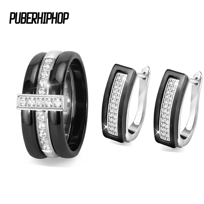 цена на 9MM Exquisite Ceramic Wedding Jewelry Set for Women With Luxury Crystal Jewelry Engagement U Shape Stud Earrings Rings Set