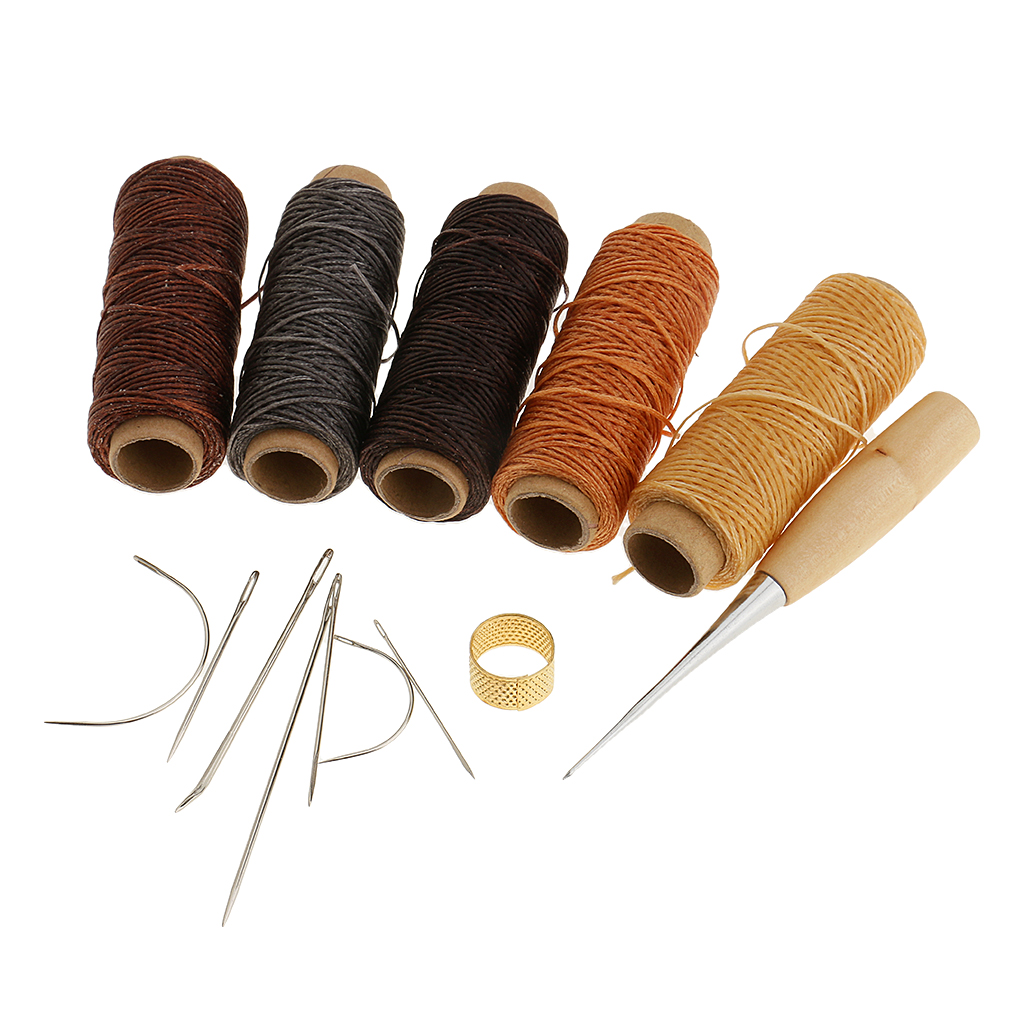 2 NEEDLES Leather repairs Sew by hand 14m THREAD HAND SEWING AWL