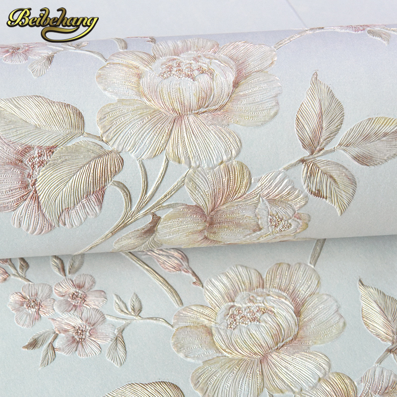 beibehang papel de parede Pastoral wallpaper 3d large three-dimensional flowers simple bedroom living room full of TV backdrop beibehang 3d precision three dimensional nonwoven papel de parede 3d wallpaper classic warm living room bedroom wallpaper tapety