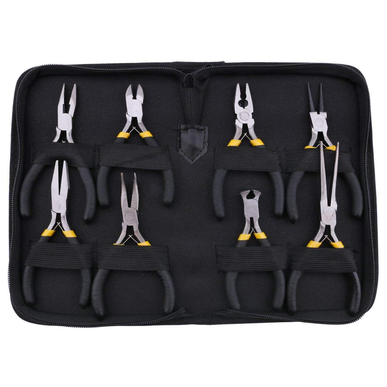 HLZS-8PCs Mini Pliers Set, Long Nose With Teeth, Flat Jaw, Round Curve Needle Diagonal Nose Wire End Cutting Cutter Linesman P