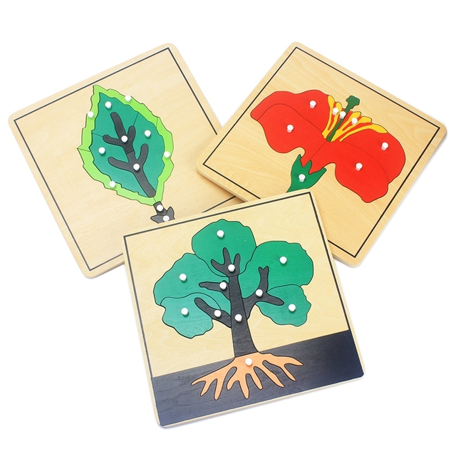 Baby Montessori Materials Wooden Puzzles Educational Toys Plant Growth Panel Wood Toy Learning Tangram/Jigsaw Toddlers Preschool 3