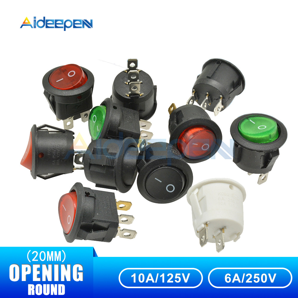 KCD1 Rocker Switch 2 Pin 3 Pin 4 Pin 20mm ON-OFF ON-OFF-ON Round Boat Switch AC 6A/250V Waterproof Cap Car Dash Dashboard