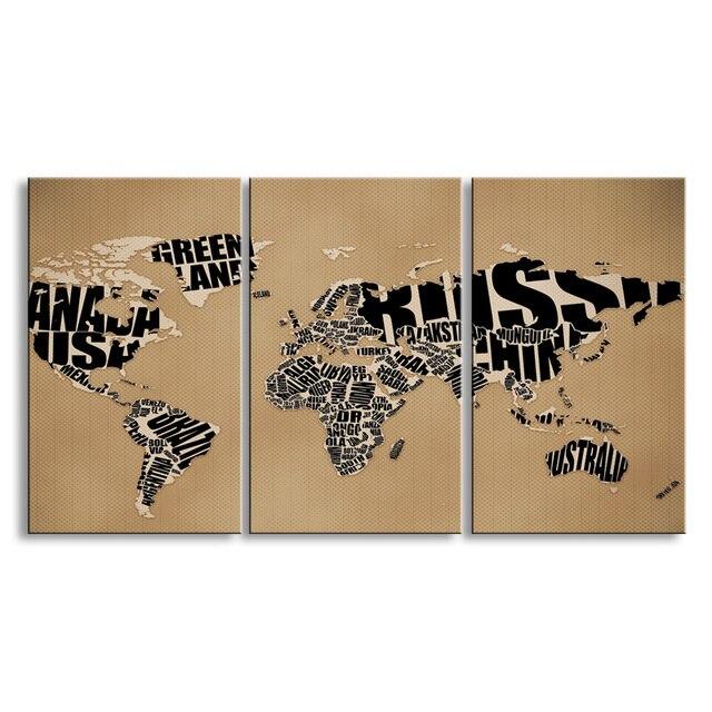 3 Stücke Von High Definition Kein Rahmen Druck Weltkarte Leinwand ölgemälde  Plakat Und Wandkunst Wohnzimmer
