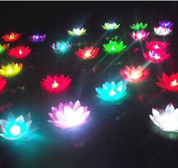 Hot Sale 50Pcs/lot 19 cm Floating LED Lotus Lamp in Colorful Changed Water Pool Wishing Lights for Party Decoration Supplies