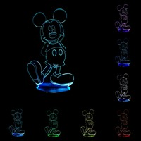 Creative Lamp LED Night Light 3D Mickey Mouse USB Nightlight Acrylic Colorful Table Desk Light Lamp