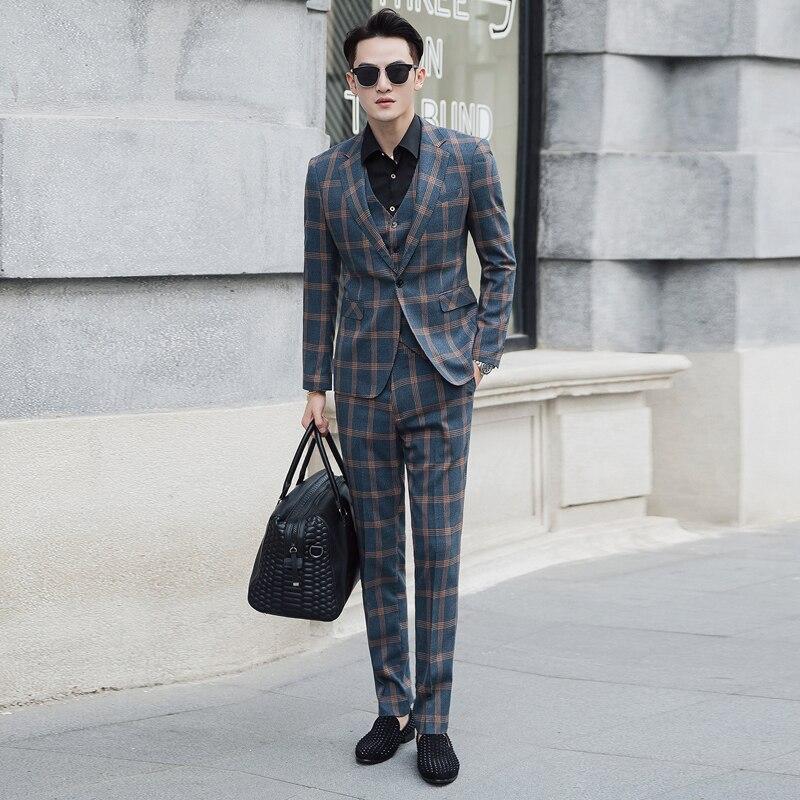 Jacket + Pant + Vest / New Men Business Slim Suits Sets Wedding Dress Three-piece Suit Blazers Coat Trousers Waistcoat