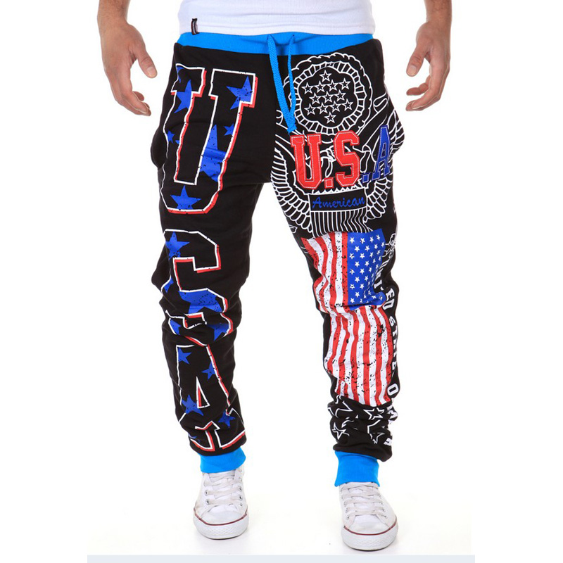 Free Shipping Men's Casual Pants USA Letter Print Design Tide Commodity Fashion Large Size High Quality