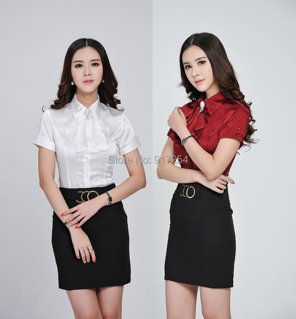 721e8c66cd44 Plus Size 2015 Summer Formal Blouses Women Skirt Suits Tops And Skirt  Fashion Ladies Business Office