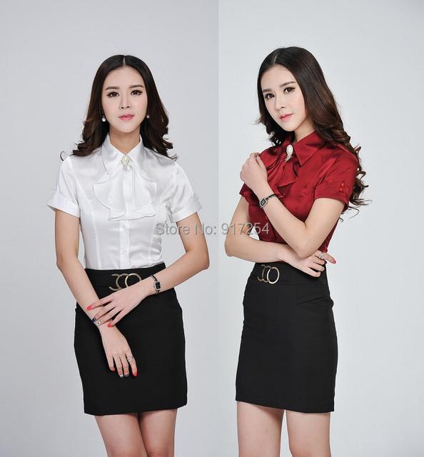 Plus Size Verão 2015 Blusas Formais Mulheres Saia Ternos Tops E Saia Senhoras Da Moda Estilos Uniformes Escritório de Negócios Trabalho Conjunto