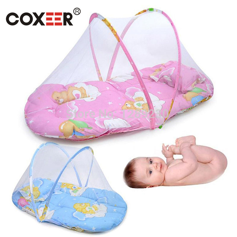 coxeer Portable Baby Bed Mesh Mosquito Net Cute Cartoon Printed Baby Tent With Cotton-Padded Mattress And Pillow Moustiquaire