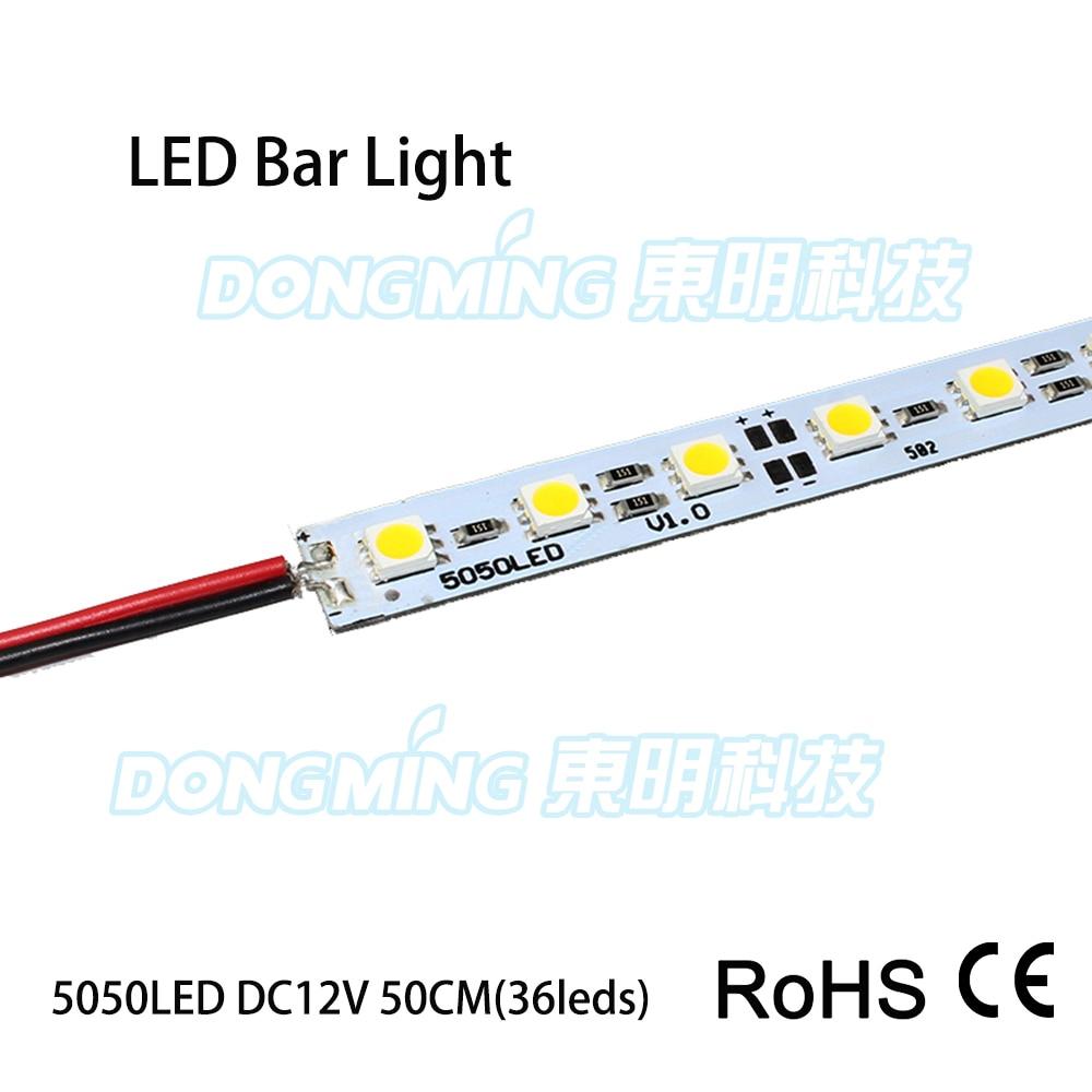 20 шт./лот 36 светодио дный s светодио дный жесткая лента 0,5 м 5050 SMD IP22 12 В Жесткая алюминиевая светодио дный полосы света светодио дный бар свет ...