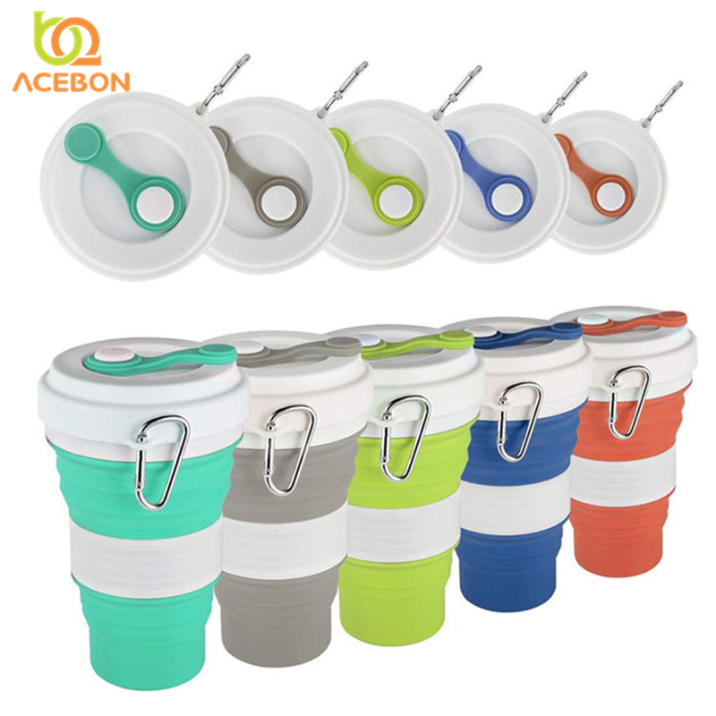 550ml Folding Silicone 5 color Portable Silicone Telescopic Drinking Collapsible coffee cup folding silica cup with Lids Travel(China)