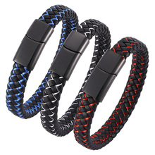 Punk Men Jewelry Black Blue Braided Leather Bracelet for Stainless Steel Magnetic Clasp Male Wrist Band Gifts BB0001