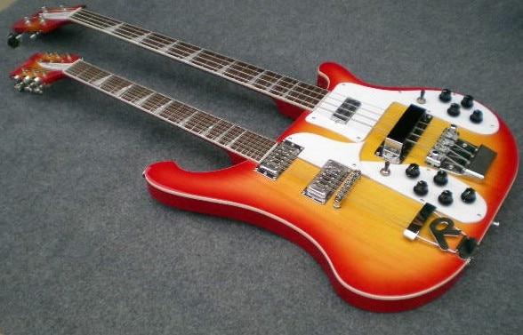 Double Neck Ricken electric bass guitar Cherry burst color /double neck guitar/12strings
