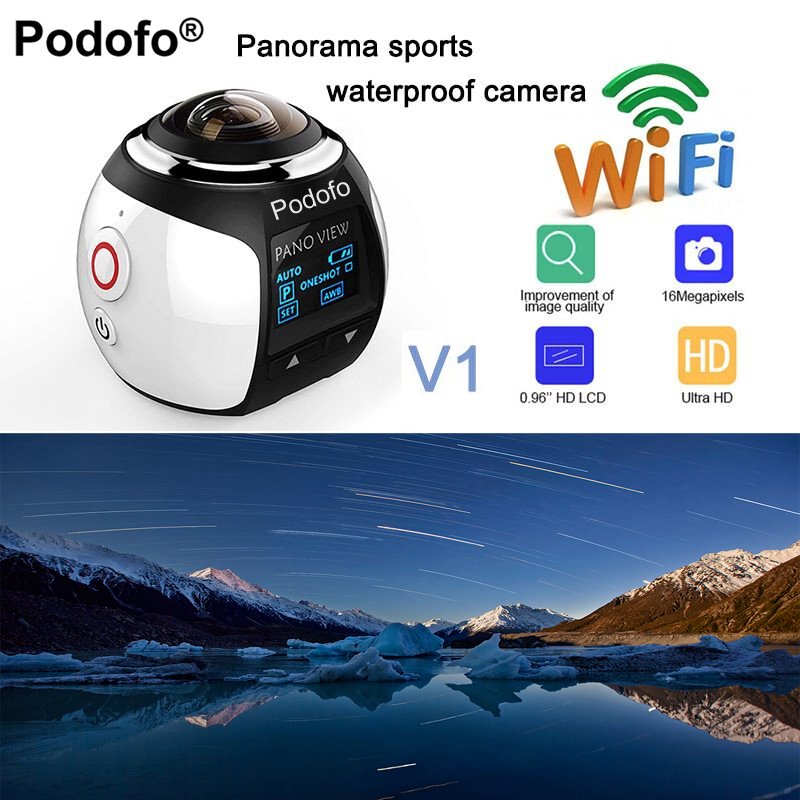 Podofo HD 360 Camera Ultra Mini Panoramic Camera WIFI 16MP 3D Waterproof Sports Camera Driving VR Action Camera Video Cam 30m 360 camera 4k ultra hd panoramic action camera 1080p 3d fisheye lens vr camera wifi mini sports video camera deportiva kamera