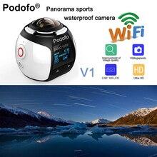 Podofo HD 360 Camera Ultra Mini Panoramic Camera WIFI 16MP 3D Waterproof Sports Camera Driving VR Action Camera Video Cam 30m