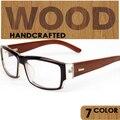 Óculos de lã do vintage miopia óculos óculos de madeira enquadrar Mulheres não-mainstream simples espelho quadros transparentes