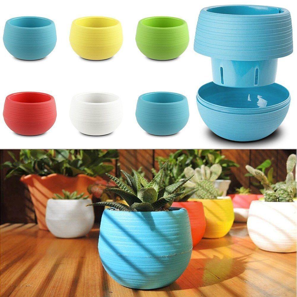 Mini Colourful 1pcs 7 6 5CM Cute Round Home Garden Office Decor Planter  Plastic Plant. Popular Pots Planters Buy Cheap Pots Planters lots from China Pots