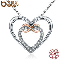 BAMOER Authentic 925 Sterling Silver Elegant Infinity Love Double Heart Pendant Necklaces For Women Fine Jewelry