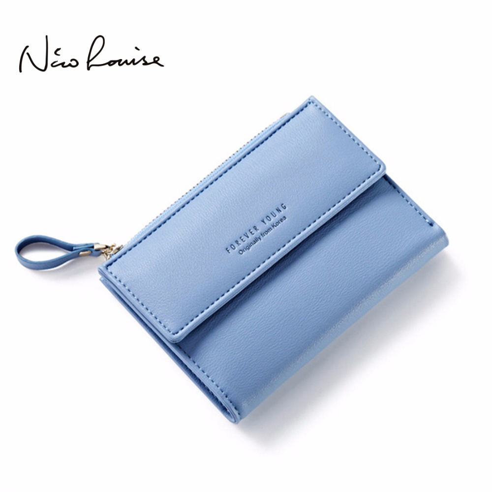 Latest Women Leather Zipper Wallet Fashion Lady Portable Multifunction Short Solid Color Change Purse Hot Female Clutch Carteras new women fashion leather hasp tri folds wallet portable multifunction long change purse hot female coin zipper clutch for girl