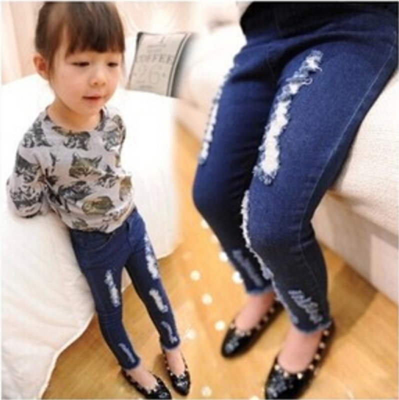 Hole Girl Jeans 2015 Latest Tight Little Girl Jeans Blue -9939