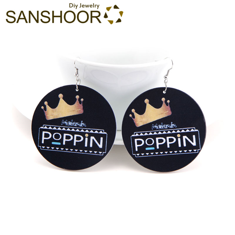 Genteel Sanshoor 6cm Melanin Poppin Wood Drop Earrings African Queen Crown Afrocentric Ethnic Jewelry As Women Christmas Gift 1pair