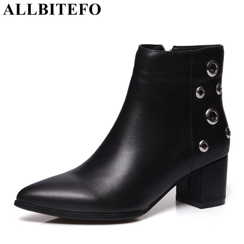 ALLBITEFO two style genuine leather pointed toe cut-outs women boots brand thick heel martin boots girls boots plus size:34-43 allbitefo size 33 43 high quality genuine leather gradient color short women boots pointed toe chains thick heel martin boots