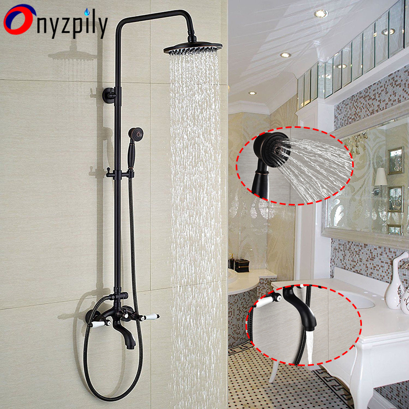 Oil Rubbed Bronze Chrome Brushed Nickel Hot&Cold Water Bathroom Shower Faucet Set 8 Rain Shower Head + Hand Spray Mixer Tap luxury oil rubbed bronze 8 round rain shower head hand shower sprayer mixer tap