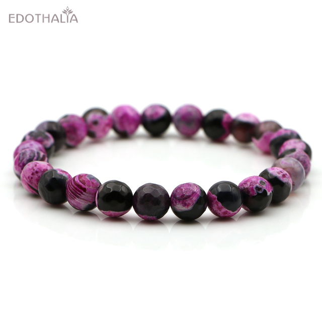 EDOTHALIA Women s Bead Stand Bracelets 8MM New Faceted Double Colors  Elastic String Beaded Jewelry Gift 0808043997