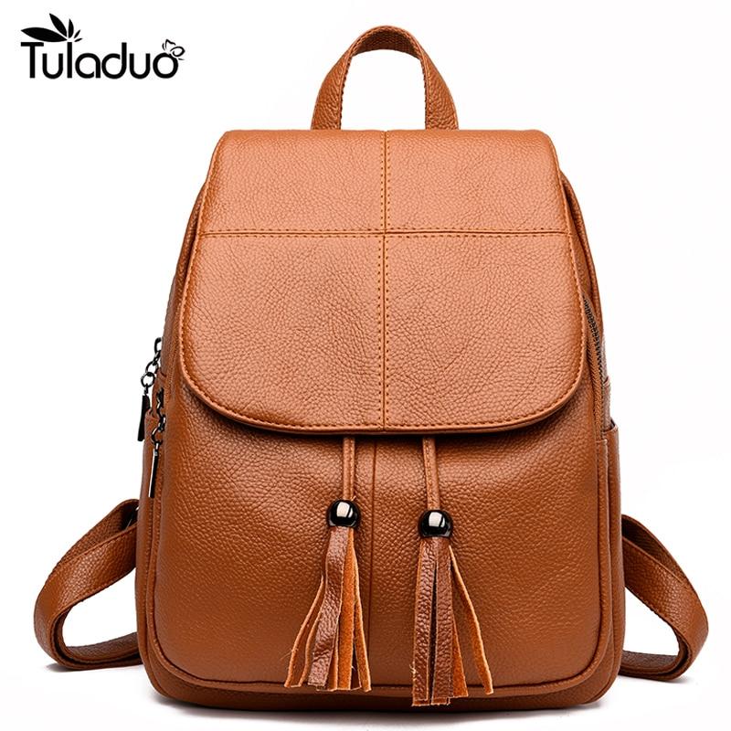 Tassel Shoulder Bag Large Capacity Backpacks Woman Kanken PU Leather Backpack Girls High Quality Backpacks Cute School Bag