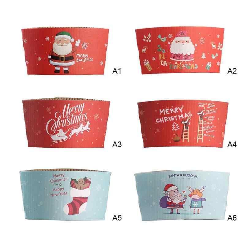 Engraçado Dos Desenhos Animados Manga Xícara de Café de Leite Xícara de Chá de isolamento Térmico Copo Descartável Tampa Cozinha Natal Decoração para Casa 10 pcs
